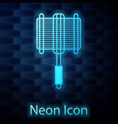 glowing neon barbecue steel grid icon isolated on vector image