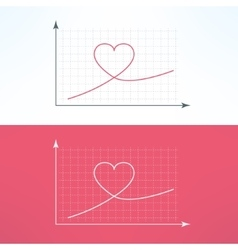 Graphic chart with heart icon Loving and vector
