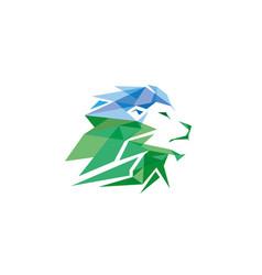 green creative geometric lion head logo symbol vector image