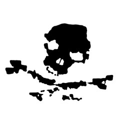Grunge black pirate skull vector