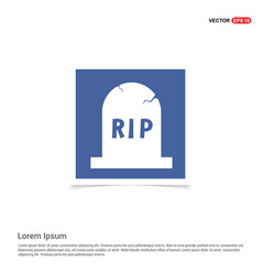 halloween rip grave stone icon - blue photo frame vector image