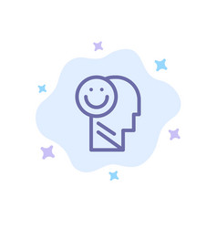 Happiness happy human life optimism blue icon on vector