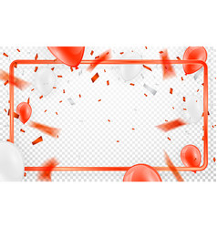 Happy birthday celebration party banner red foil vector