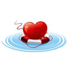 Heart in lifebuoy concept image vector