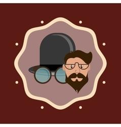 Hipster fashion man emblem image vector