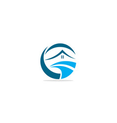 home wave water logo vector image
