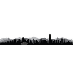 Hong-kong city skyline with tourist attraction vector