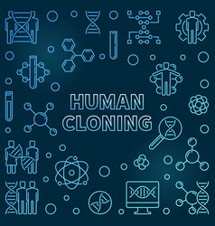 Human cloning outline blue concept vector