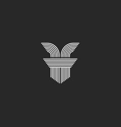 Initial letters ff logo monogram lines shape vector