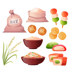 japanese food rice in bag sushi and dango vector image