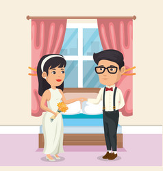 Just married couple in the bedroom vector