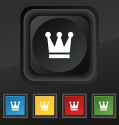 King Crown icon symbol Set of five colorful vector