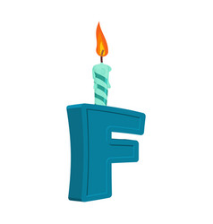 letter f birthday font letter and candle vector image