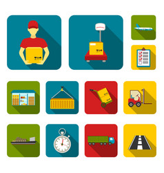 logistics service flat icons in set collection for vector image