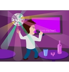 Man singing at the karaoke bar vector image
