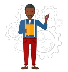 Man standing on gears background vector
