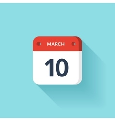 March 10 Isometric Calendar Icon With Shadow vector image