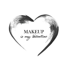 Mascara heart smear brush black grunge swatch in vector