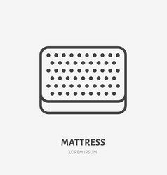 Mattress flat line icon top view bedding sign vector