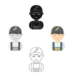 mechanic cartoonblack icon for web vector image