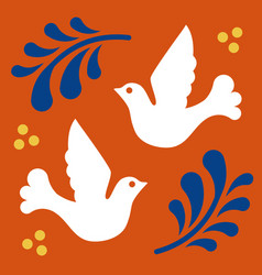Mexican talavera tile pattern with birds ornament vector