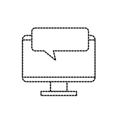 monitor device with speech bubble chatting vector image