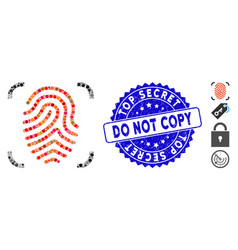 Mosaic fingerprint scan icon with textured top vector