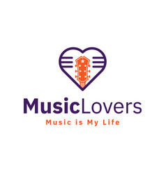 music lovers and guitar logo design inspiration vector image