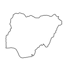 nigeria map of black contour curves on white vector image