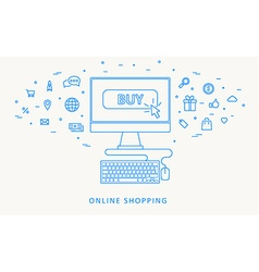 online shopping thin blue line design vector image