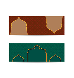 Ornamental arabic style banner red and green vector