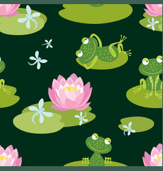 Pattern of funny frogs on a flowering pond vector