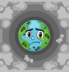 Pollution on earth with dirty smoke background vector