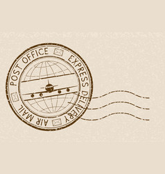 Postal stamp express delivery round brown vector