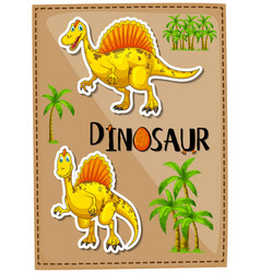 Poster design with two spinosaurus vector