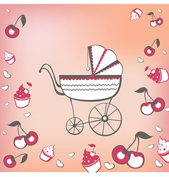 pram and cherry vector image