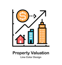 Property valuation line color icon vector