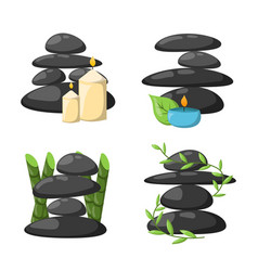 pyramid from sea pebble relax heap stones isolated vector image