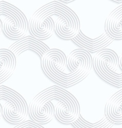Quilling white paper striped overlapping hearts in vector