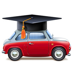 red car with square academic cap vector image