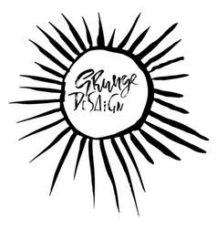 round grunge frame sun rays pattern vector image