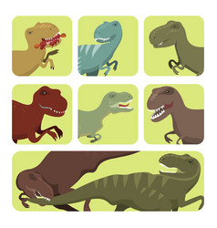 scary dinosaurs tyrannosaurus cards t-rex vector image
