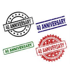 scratched textured 40 anniversary stamp seals vector image