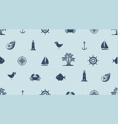 Seamless background with cute sea objects vector