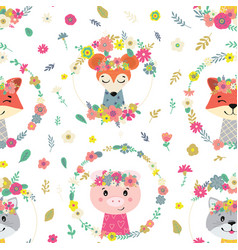Seamless pattern with flowers and animals vector