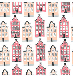 seamless pattern with scandinavian houses vector image