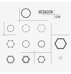 Set black character of hexagons eps10 vector