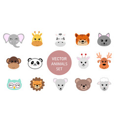 Set cute hand drawn smiling animals characters vector