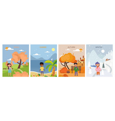 set four seasons backgrounds and symbolic vector image