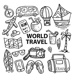 set hand drawing world travel vector image